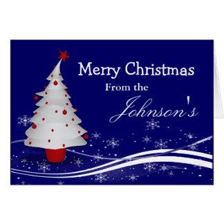 Cartoon White Christmas Tree Christmas Greeting Card