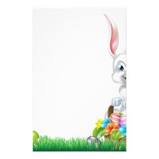 Cartoon White Easter Bunny Egg Basket Stationery