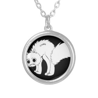 Cartoon white kitten round pendant necklace