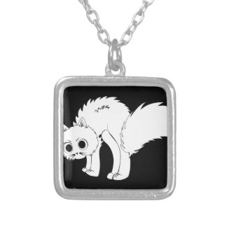 Cartoon white kitten square pendant necklace