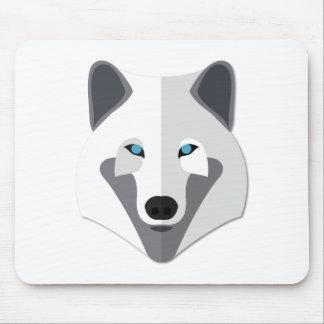 Cartoon White Wolf Head Mouse Pad