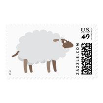 Cartoon White Wool Sheep Farm Animal Stamp