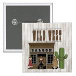 Cartoon Wild Western Fun Saloon Button