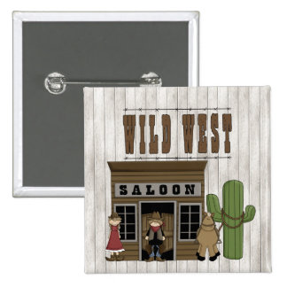 Cartoon Wild Western Fun Saloon Pinback Button