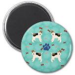 Cartoon Wire Fox Terrier 2 Inch Round Magnet