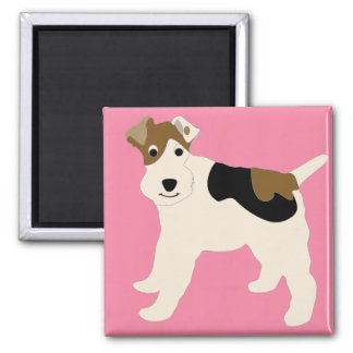 Cartoon Wire Fox Terrier 2 Inch Square Magnet