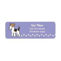 Cartoon Wire Fox Terrier Label