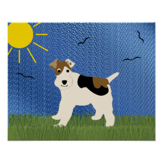 Cartoon Wire Fox Terrier Poster