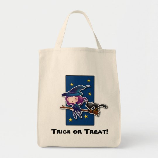 Cartoon Witch and cat halloween bag