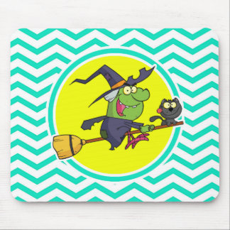 Cartoon Witch; Aqua Green Chevron Mouse Pad