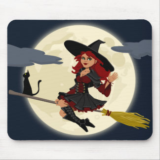 Cartoon Witch & Black Cat Mouse Pad