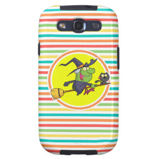 Cartoon Witch on Bright Rainbow Stripes Galaxy S3 Covers