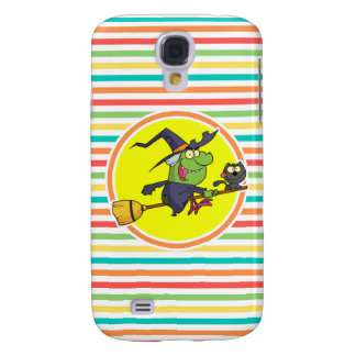Cartoon Witch on Bright Rainbow Stripes Galaxy S4 Case