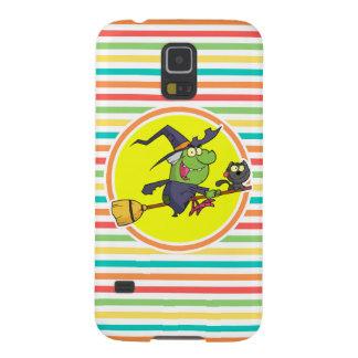 Cartoon Witch on Bright Rainbow Stripes Galaxy S5 Case