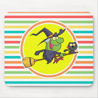 Cartoon Witch on Bright Rainbow Stripes Mouse Pad