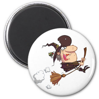 Cartoon Witch Rides Broom Magnet