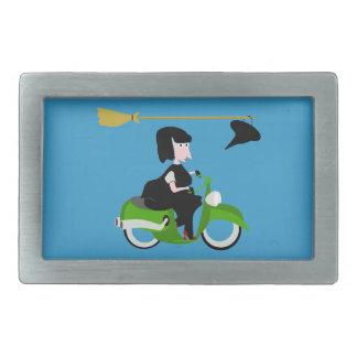 Cartoon Witch Riding A Green Moped Belt Buckle