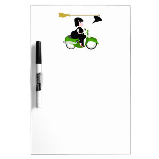 Cartoon Witch Riding A Green Moped Dry Erase Board