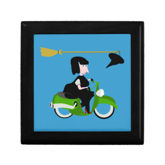 Cartoon Witch Riding A Green Moped Jewelry Box
