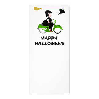Cartoon Witch Riding A Green Moped Rack Card