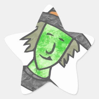 Cartoon Witch Star Sticker