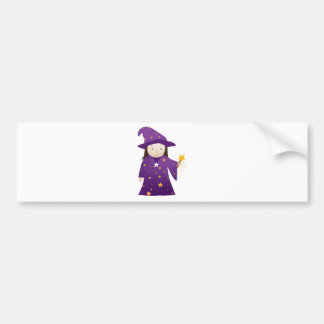 cartoon wizard girl bumper sticker