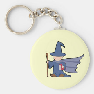 Cartoon Wizard Kid Basic Round Button Keychain