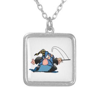 Cartoon Wizard Square Pendant Necklace
