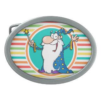 Cartoon Wizard on Bright Rainbow Stripes Oval Belt Buckle