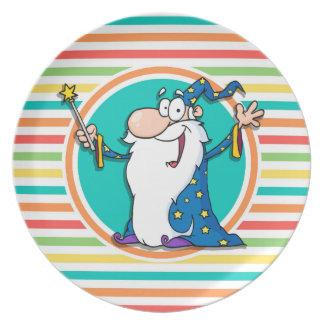 Cartoon Wizard on Bright Rainbow Stripes Melamine Plate
