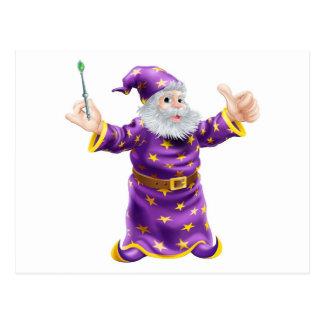 Cartoon Wizard with Wand Postcard