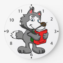 Cartoon wolf holding books large clock