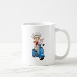 Cartoon Woman Delivery Moped Chef Coffee Mug