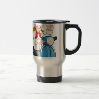 Cartoon Woman Delivery Moped Chef Travel Mug