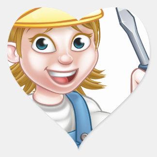 Cartoon Woman Electrician Holding Screwdriver Heart Sticker
