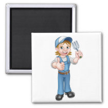 Cartoon Woman Gardener Magnet