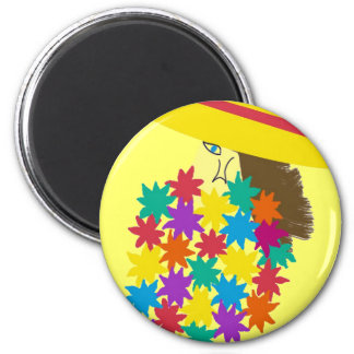 Cartoon Woman Holding Flowers 2 Inch Round Magnet