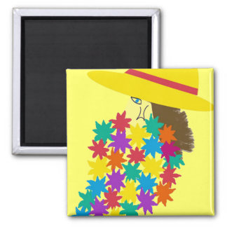 Cartoon Woman Holding Flowers 2 Inch Square Magnet