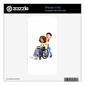 Cartoon Woman in Wheelchair with Doctor iPhone 4S Decal