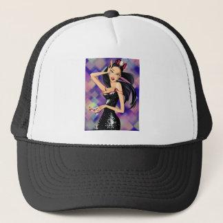 Cartoon woman trucker hat