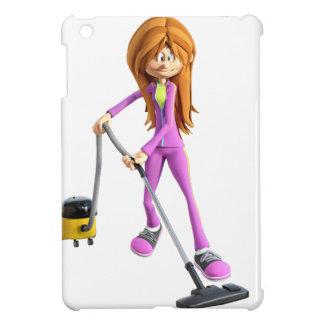 Cartoon Woman Using A Vacuum iPad Mini Cover