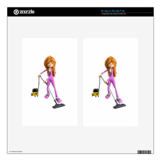 Cartoon Woman Using A Vacuum Kindle Fire Decal