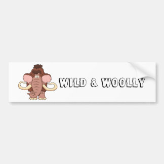 Cartoon Woolly Mammoth Bumper Sticker