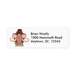 Cartoon Woolly Mammoth Label