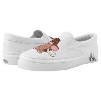 Cartoon Woolly Mammoth Slip-On Sneakers
