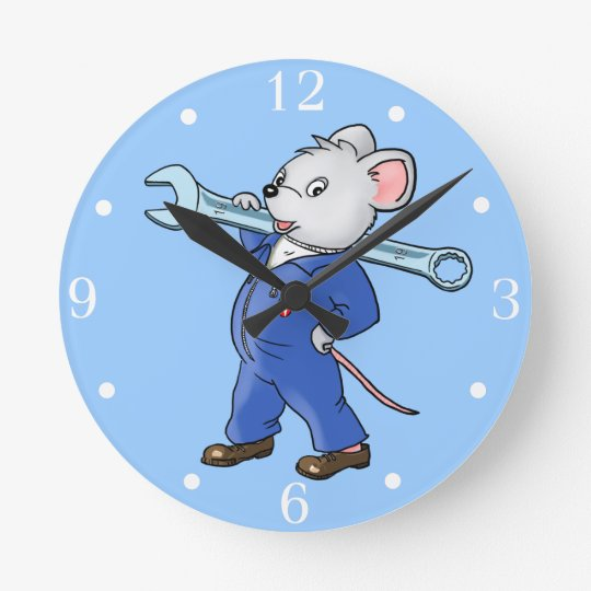 Cartoon Working Mouse - Wall Clock