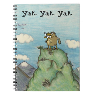 Cartoon yak drawing on mountain top yak.yak.yak. spiral notebook