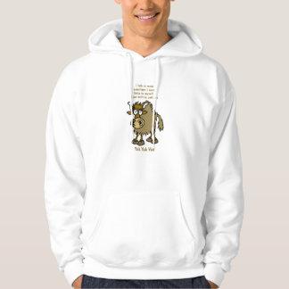 Cartoon yak talking. Humorous hoodie. Hoodie