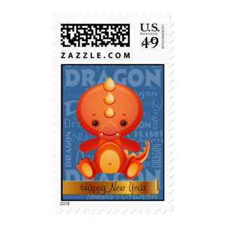 Cartoon Year of the Dragon Word Art Stamps