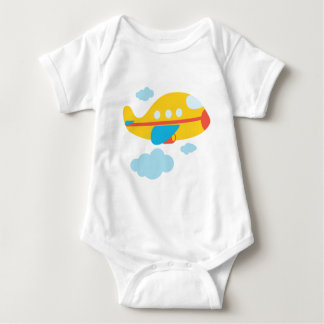 Cartoon Yellow Airplane Baby Bodysuit
